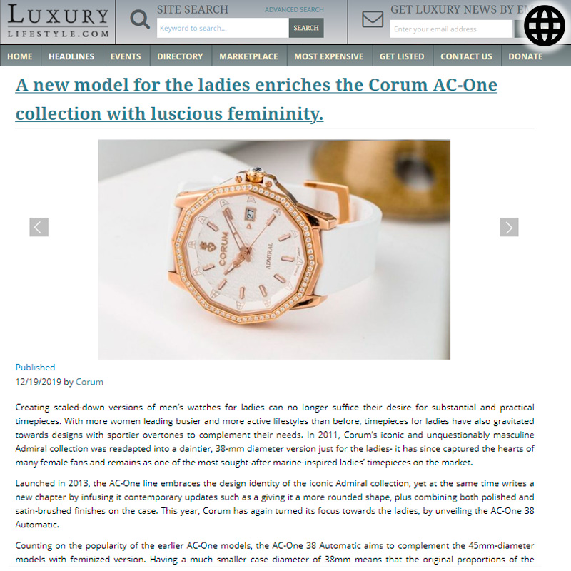 Watch : Admiral, 38 ( A New Model For The Ladies Enriches The Corum Ac… )