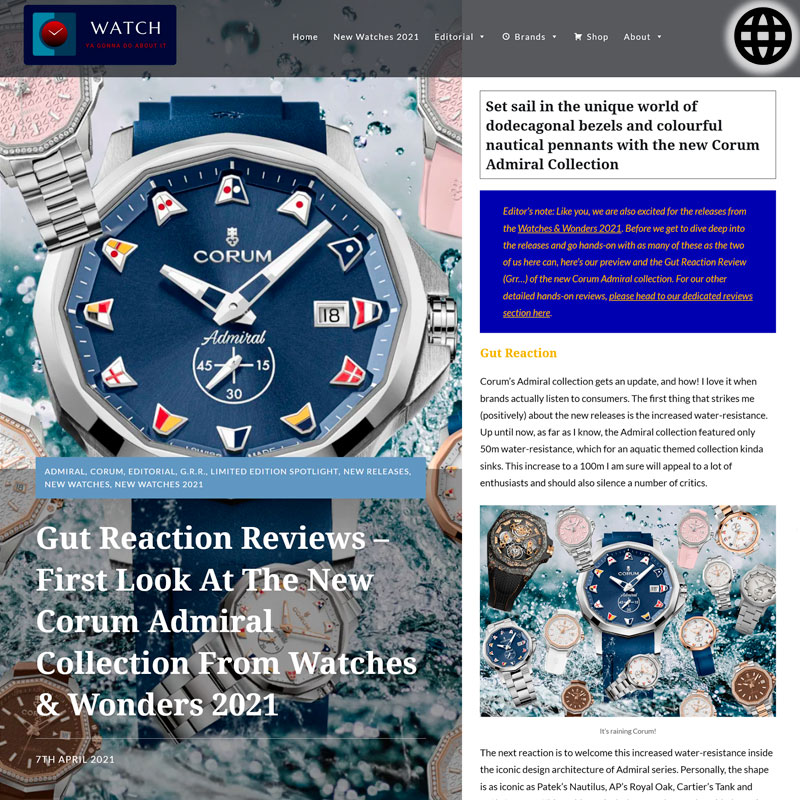Watch : Admiral, 38 ( First look at the new Corum Admiral Connection )