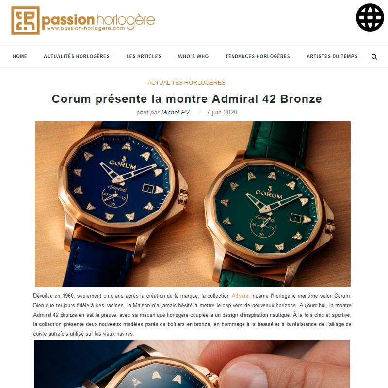 Watch : Admiral, 42 ( Corum Presente La Montre Admiral 42 Bronze )