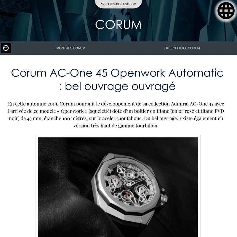 Watch : Admiral, 45 ( Corum Ac One 45 Openwork Automatic Bel Ouvrage Ouvrage )