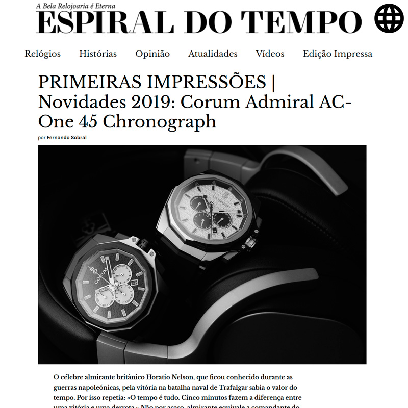 Watch : Admiral, 45 ( Primeiras Impressoes Novidades 2019 Corum Admiral Ac One 45 Chronograph )