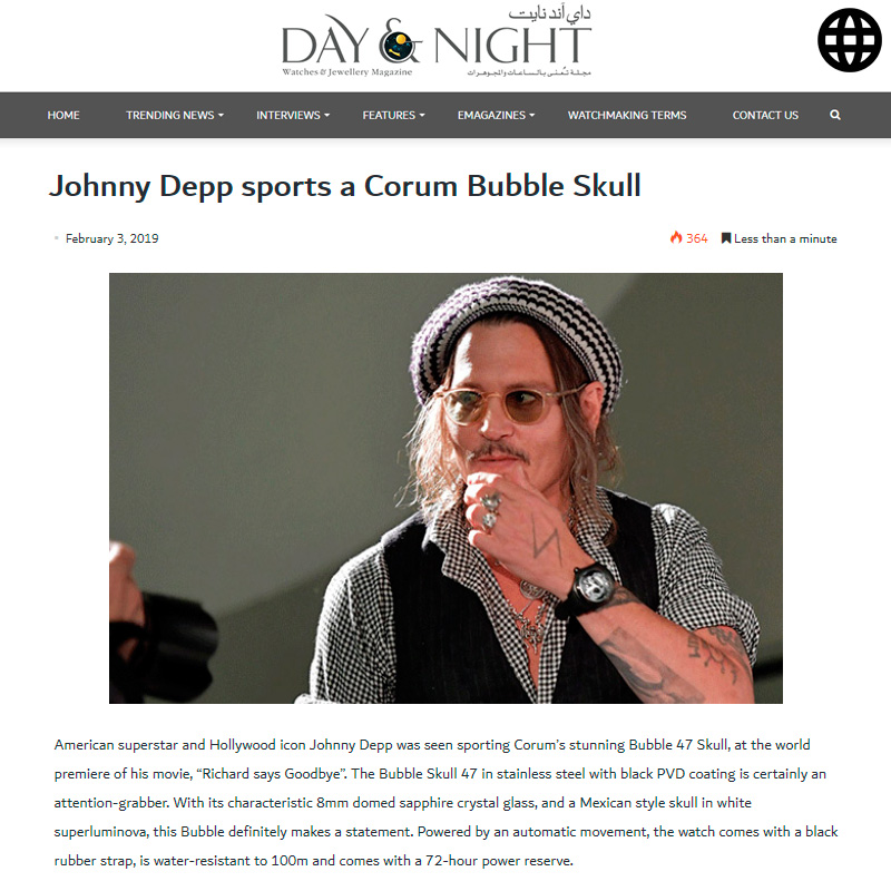 Watch : Bubble, 47 ( Johnny Depp Sports A Corum Bubble Skull )