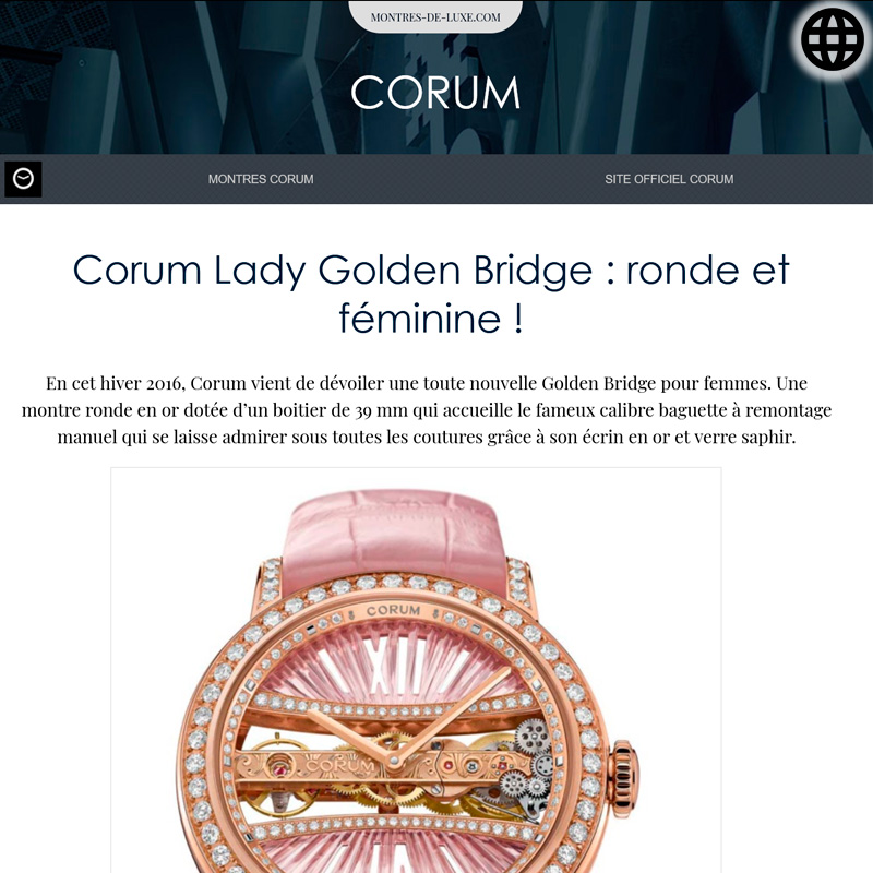 Watch : Golden Bridge, 39 ( Corum Lady Golden Bridge Ronde Et Feminine )