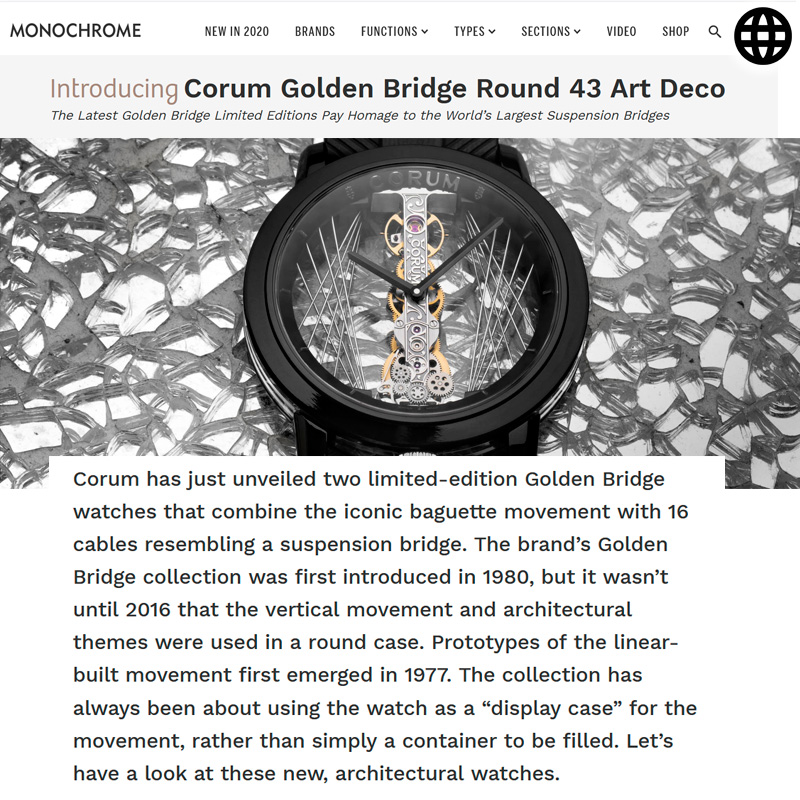Watch : Golden Bridge, 43 ( Corum Golden Bridge Round 43 Art Deco Introducing Price )
