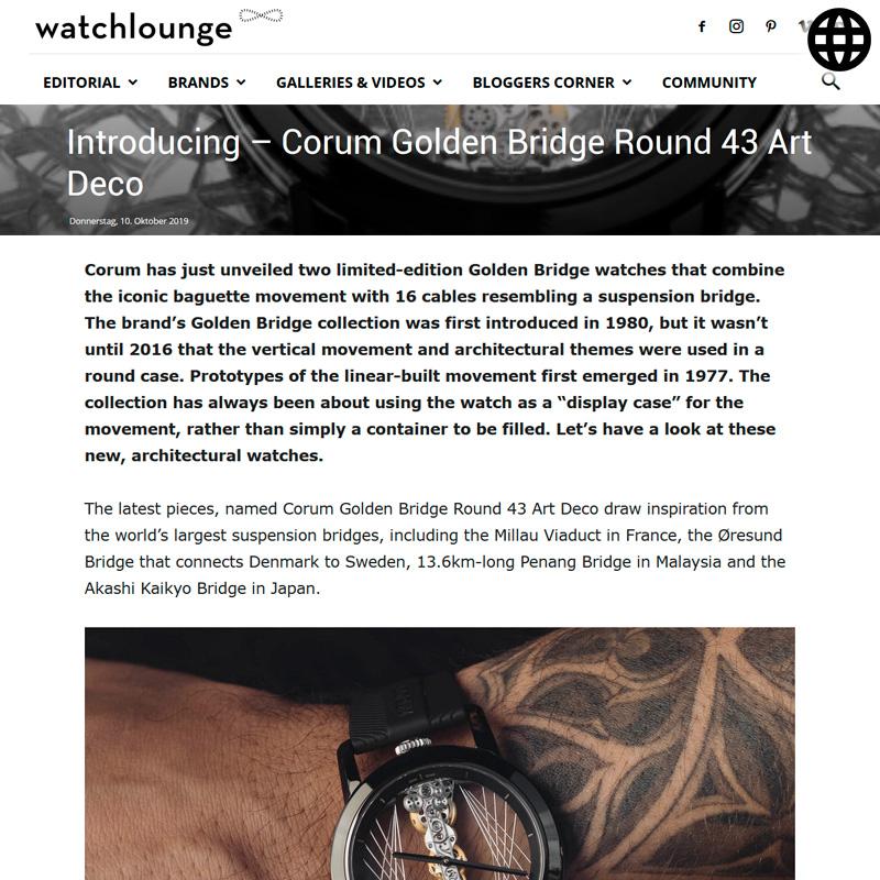 Watch : Golden Bridge, 43 ( Introducing Corum Golden Bridge Round 43 Art Deco )