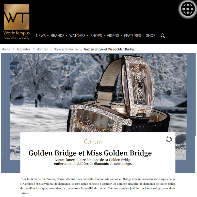 Watch : Golden Bridge, Miss ( Corum Golden Bridge Et Miss Golden Bridge )