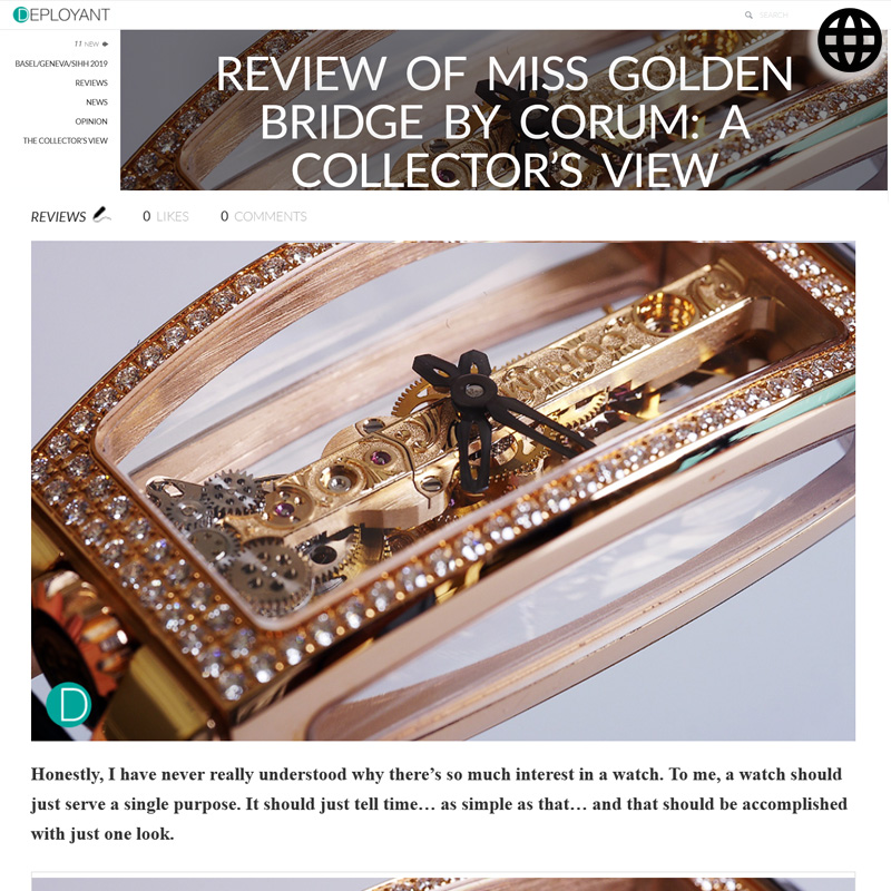 Watch : Golden Bridge, Miss ( Review Miss Golden Bridge Corum Collectors View )