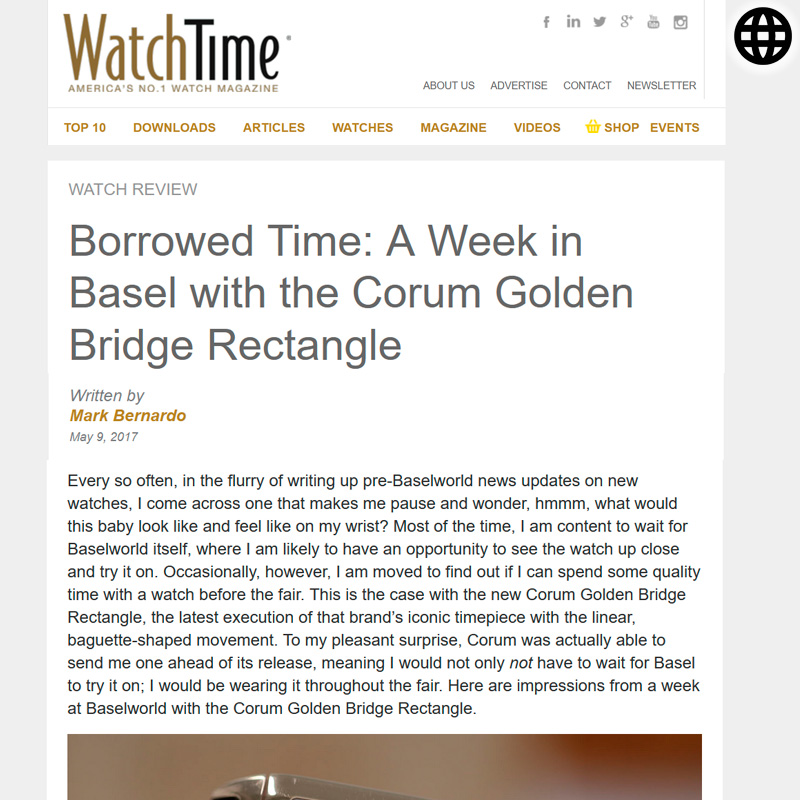 Watch : Golden Bridge, Rectangle ( Borrowed Time A Week In Basel With The Corum Golden… )