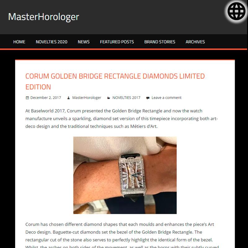 Watch : Golden Bridge, Rectangle ( Corum Golden Bridge Rectangle Diamonds Limited Edition Hand Wound Movement… )