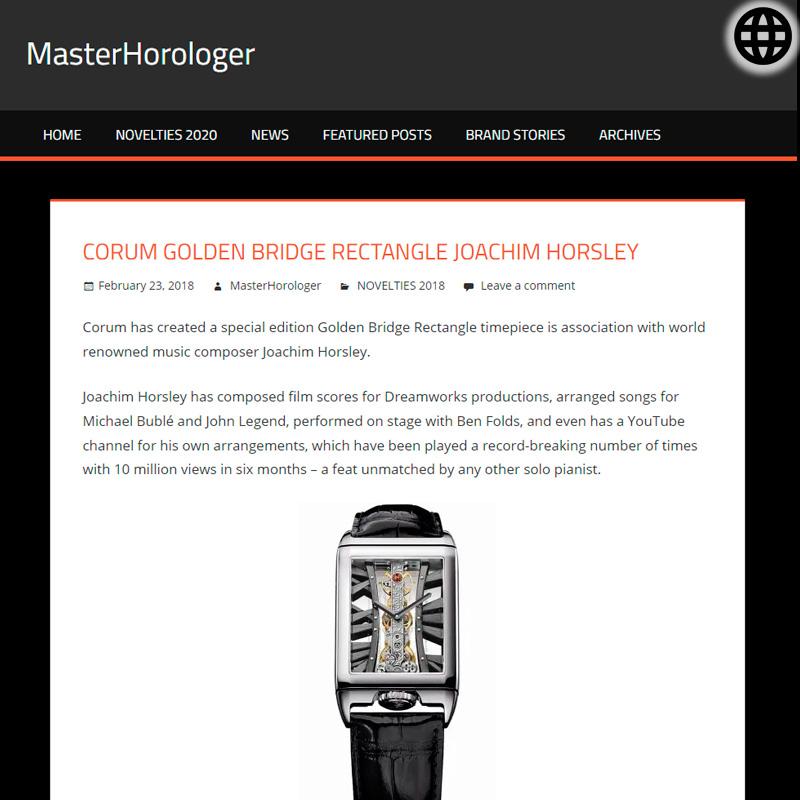 Watch : Golden Bridge, Rectangle ( Corum Golden Bridge Rectangle Joachim Horsley White Or Pink Gold… )