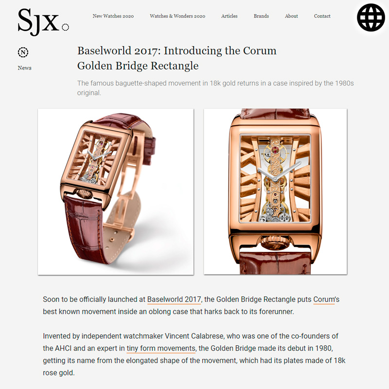 Watch : Golden Bridge, Rectangle ( Baselworld 2017 Introducing The Corum Golden Bridge Rectangle )