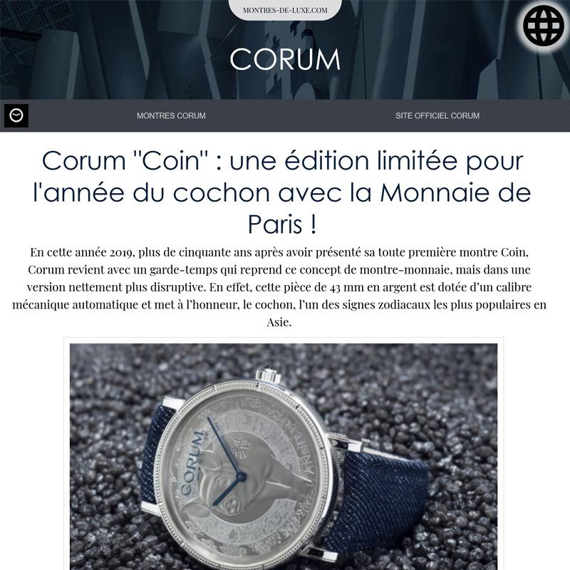 Watch : Heritage, Coin ( Corum Coin Une Edition Limitee Pour L Annee Du Cochon… )