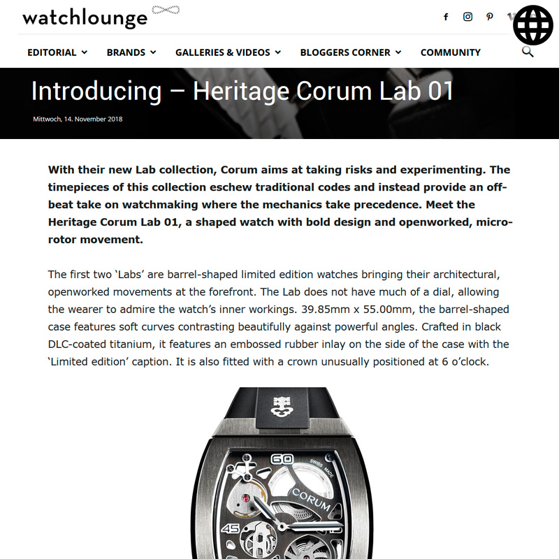 Watch : Lab, 01 ( Introducing Heritage Corum Lab 01 )