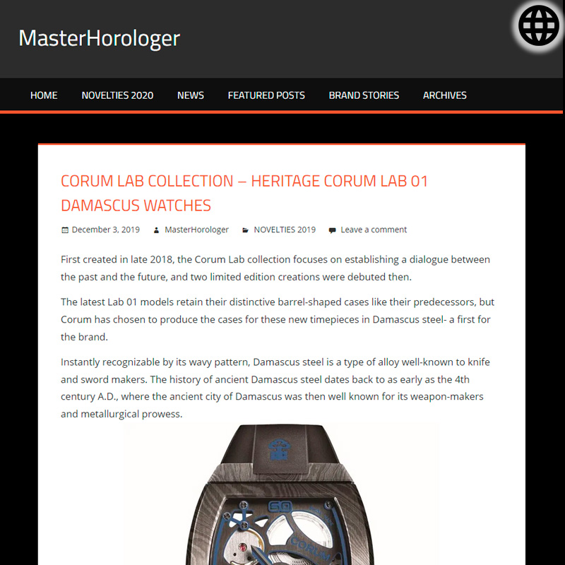 Watch : Lab, 01 ( Corum Lab Collection Heritage Corum Lab 01 Damascus Watches )