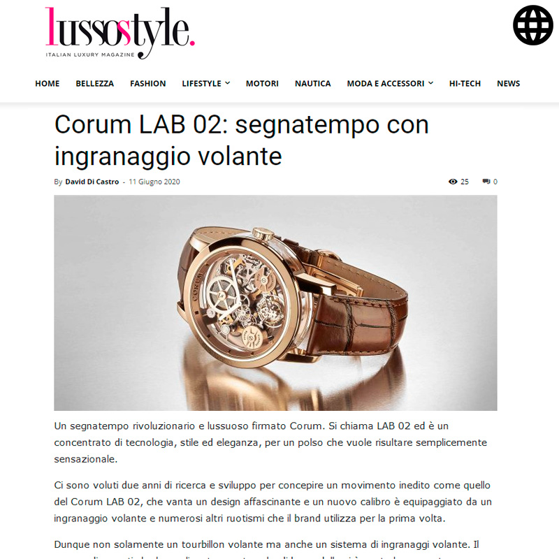 Watch : Lab, 02 ( Corum Lab 02 Segnatempo Con Ingranaggio Volante )