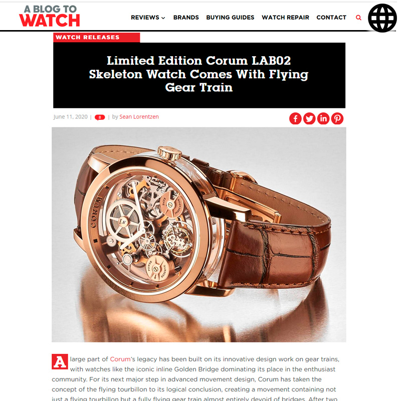 Watch : Lab, 02 ( Limited Edition Corum Lab02 Skeleton Watch Comes With Flying Gear… )