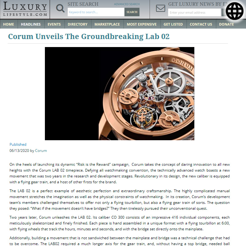 Watch : Lab, 02 ( Corum Unveils The Groundbreaking Lab 02 )